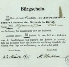 Fritz Platten bürgte im März 1916 für den Benutzer Ulianoff (SozArch Ar 199.10.1)