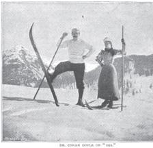 """Arthur Conan Doyle 1894. Abbildung in seinem Artikel """"An Alpine Pass on 'Ski'"""", """"The Strand Magazine"""" (Quelle: Arthur Conan Doyle Encyclopedia)"""