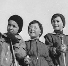 Kinder beim Skifahren, 1944 (F 5047-Fb-247)