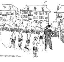Illustration aus den Erinnerungen an eine Kindheit in Zürich-Aussersihl in der Zwischenkriegszeit (Erwin Läser: Läsi: Erinnerungen aus meiner Bubenzeit. Wallisellen 1993)