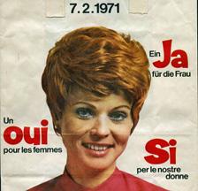 Werbetasche zur Abstimmung vom 7. Februar 1971 (SozArch F Oa-0001-005)