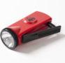 Rote Taschenlampe mit handbetriebenem Dynamo, um 1980