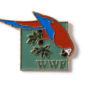 Pin mit Papagei, um 1990