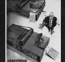 »Wir sind keine Versuchskaninchen. Wehren wir uns!» Postkarte, Greenpeace (um 1997)