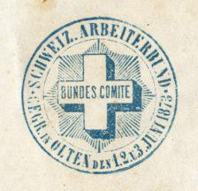 Stempel im Protokollbuch: BUNDES COMITE – SCHWEIZ. ARBEITERBUND – GEGR. IN OLTEN DEN 1.2.U.3. JUNI 1873