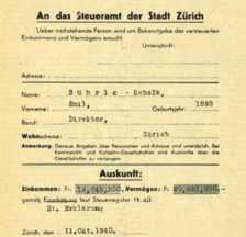 Emil Bührles Steuerausweis, abgedruckt im Volksrecht (SozArch Ar 201.44)