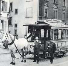 Letztes Rösslitram, letzter Fototermin der Monteure, Seefeldstrasse August 1900